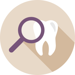magnifying glass and tooth icon